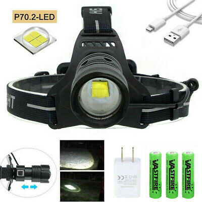 AU41.79 • Buy XHP70 XHP90 XHP100 LED Headlamp Zoom USB Rechargeable Headlight Torch Bright