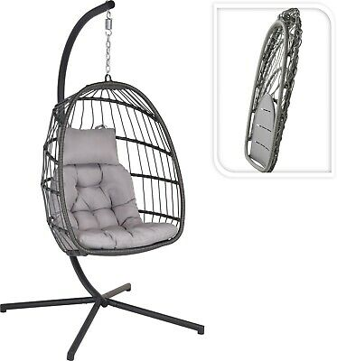 Foldable Hanging Swing Moon Egg Chair With Stand & Cushion - Grey • 224.99£