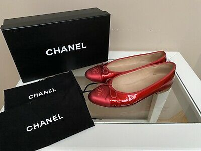£247.80 • Buy AUTH CHANEL BALLET FLATS RED PATENT LEATHER Sz 38.5C