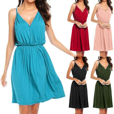 AU16.71 • Buy Women V Neck Sleeveless Sling Loose Dress Summer Beach Holiday Casual Sundress