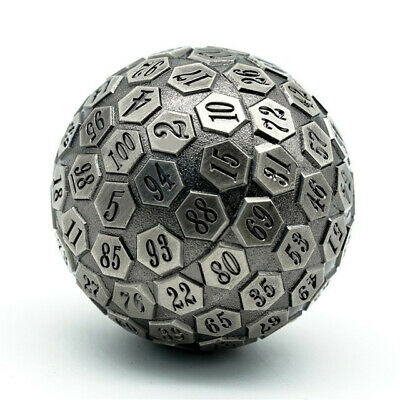AU38.76 • Buy Metal Single 100 Sided Polyhedral Dice (D100) | Silver Color Solid (45mm)