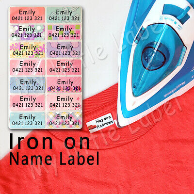 AU5.99 • Buy Mixed Pattern Personalised Iron On /sew On Clothing Name Labels 46x20mm