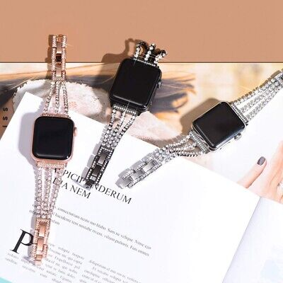 AU17.99 • Buy For Apple Watch Band IWatch Series SE 6 5 4 3 2 1 Diamond Stainless Steel Strap