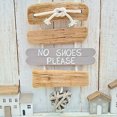 £8.99 • Buy Shabby Driftwood Chic Remove No Shoes Please Willow Heart Door Plaque Sign Bow