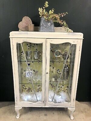 Vintage Shabby Chic Painted Glazed Cocktail China Cabinet Annie Sloan • 165£