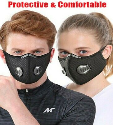Washable Face Mask 2 Airvents+filter PM2.5 Reusable 1 Valve Face Covering+filtr  • 2.49£