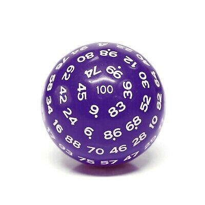 AU12.90 • Buy  Purple  Single 100 Sided Polyhedral Dice (D100) | Purple Color (45mm) White