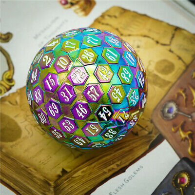 AU38.76 • Buy Rainbow Metal Single 100 Sided Polyhedral Dice (D100) | W/ White Color (45mm)