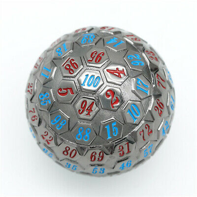 AU32.30 • Buy Black Metal Single 100 Sided Polyhedral Dice (D100) | Blue + Red Color (45mm)