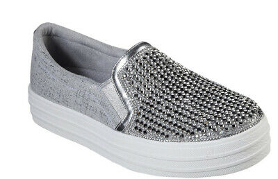 BRS* Skechers Womens DOUBLE UP - DIAMOND EYEZ Silver Slip On Shoes UK 6 Eu 39 • 39.99£