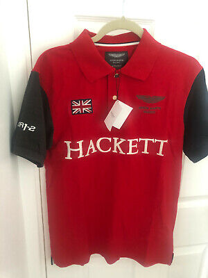 New Red Hackett Polo Shirt Aston Martin Racing Short Sleeved Cotton Medium M • 24.99£