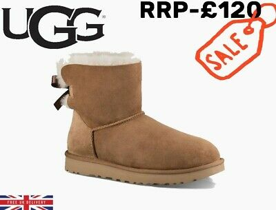 £67 • Buy UGG Womens Chestnut Brown Mini Bailey Bow II Boots UK 7.5 Classic Winter Boots