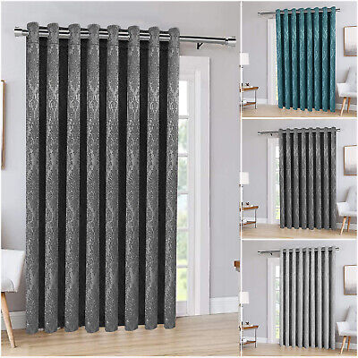 Thermal Blackout Door Curtains Eyelet Ring Top Ready Made Single Panel Curtain • 18.99£