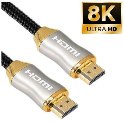 8K HDMI 2.1 Ultra High Speed Cable 48Gbps 4K@120 UHD 1M 2M Gold PS5 XBOX Sky   • 9.95£