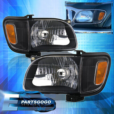 $83.99 • Buy For 01-04 Toyota Tacoma Black Amber Driving Headlights + Corner Bumper Pair Lamp