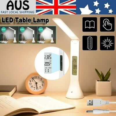 AU20.59 • Buy LED Desk Lamp Touch Light Study Lamp USB Table Lamp Clock Temperature Dimmable
