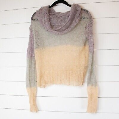 $ CDN27.05 • Buy Anthropologie Knitted & Knotted Melting Blocks Cowl Sweater Cream Violet Small
