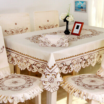 AU46.49 • Buy Rectangle Tablecloth Dining Table Cover Vintage Embroidered Floral Lace Doily