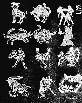 £3.80 • Buy 12 Zodiac Signs Small Vintage Style Silver Tone Brooch Pin Broach Crystal Gift
