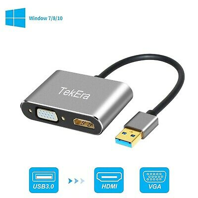 AU24.98 • Buy USB 3.0 To HDMI + VGA Full HD 1080p Video Adapter Cable Converter For PC Laptop