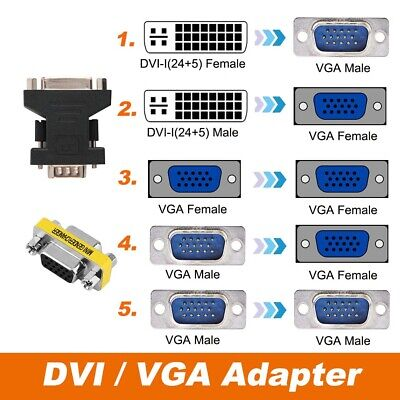 AU4.95 • Buy VGA Female To DVI  Male / VGA Female To DVI-I 24+5 Male Converter Adapter