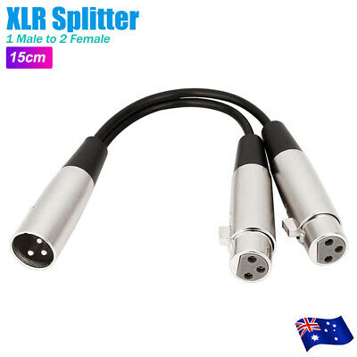 AU8.96 • Buy Y Adapter One 1 X Male To Two 2 X Female XLR Splitter Cable Lead Short Dual DMX