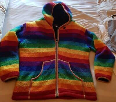 Shikha (Like Pachamama) 100% Wool Fleece Lined Rainbow Hooded Jacket 52  Chest • 49£