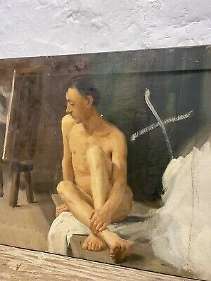 Antique Male Nude Portrait Virginia Douglas Stannus Gray Oil On Canvas Painting • 400£