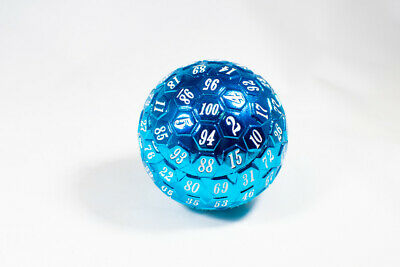 AU38.76 • Buy Blue Metal Single 100 Sided Polyhedral Dice (D100) | Blue Color Solid (45mm)