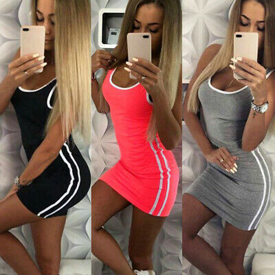 AU14.72 • Buy Women Sleeveless Slim Fit Bodycon Tank Mini Dress Party Stretchy Clubwear Summer