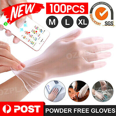AU18.95 • Buy 100pcs Clear Vinyl Disposable Gloves Powder Latex Free PVC Protective Food  AU
