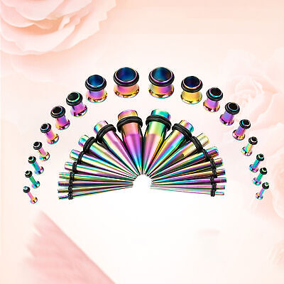 36PCS Ear Stretching Gauges Set Tapers Tunnels Plugs Kit Stainless Steel • 5.43£