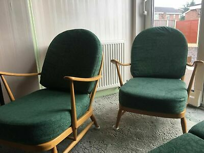 Vintage Ercol Windsor Suite, 3 Seater Sofa, 2 Armchairs / Arm Chair Light Finish • 995£