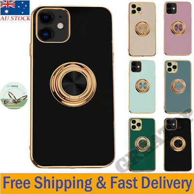AU17.29 • Buy TPU Mobile Phone Case Cover With Finger Ring Stand Holder For Apple IPhone 12