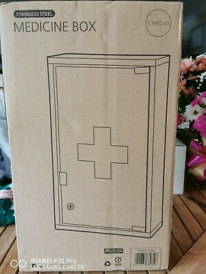 Stainless Steel Medicine Cabinet Wall Mounted Lockable First Aid Cupboard Box • 25£