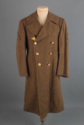 Men's 1940s WWII US Army Air Force Long Overcoat 36 Small 40s Vtg WW2 Wool Coat • 72.41£