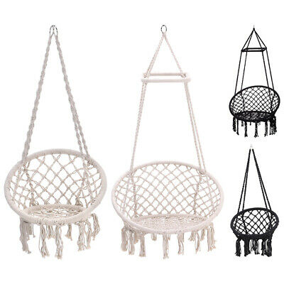 Woven Rope Swing Chair Single Garden Seat/Stand Outdoor Indoor Hanging Hammock • 159.54£