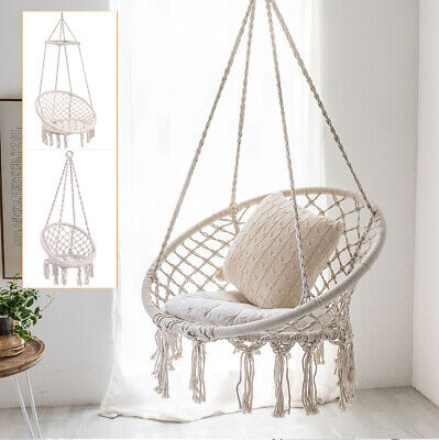 Indoor White/Black Hammock Seat Hanging Hammock Macrame Rope Swing Chair/Stand • 159.59£
