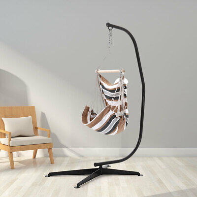 White&Brown Woven Rope Swing Chair Indoor Hanging Hammock Garden Seat With Stand • 159.59£