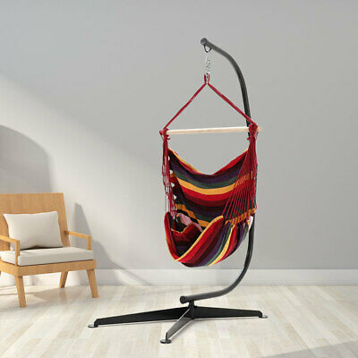 Outdoor Indoor Hanging Hammock Red Woven Rope Swing Chair Garden Seat With Stand • 159.59£