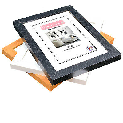 3D Box Picture Frames Black Photo Deep Poster Frame Wood Effect 8x6 • 6.99£