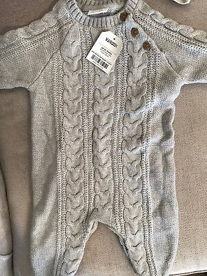 Next Baby Boys Brand New Grey Knitted Romper Suit Up To 3 Month • 10£