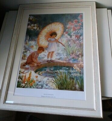 Vintage Framed Print By Margaret Tarrant ANTICIPATION Great For Child Or Nursery • 30£