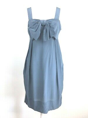 Topshop Pure Silk Dusky Blue Lagenlook Smock Bow Dress 10 36 (marked - See Desc) • 7.99£