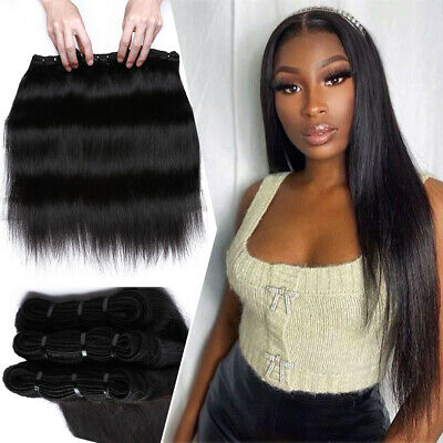 £149.15 • Buy 8A THICK Straight 100% Virgin Human Hair Extensions Peruvian Bundles Weave Wefts