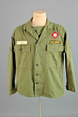 Men's 1940s Post WWII US Army HBT 13 Star Button Shirt Med 40s WW2 Jacket Vtg • 43.88£