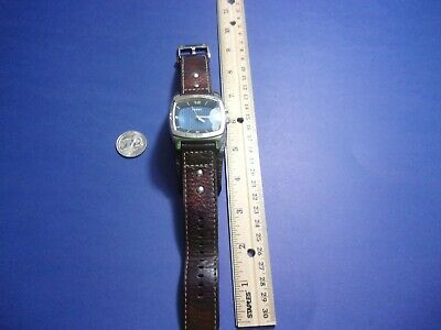 $35.49 • Buy Fossil Men's AM3695 Cuff Kaleido Leather Strap Blue Mirror Dial Band New Battery