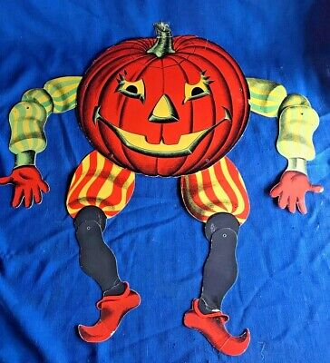 $ CDN60.21 • Buy Vintage Halloween Die Cut Jack O Lantern W/Jointed Arms &Legs Beistle Luhrs 1950