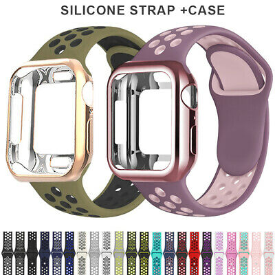 AU16.99 • Buy 42/44mm Silicone Apple Watch Band Strap+Case IWatch Series SE 6 5 4 3 2 38/40mm