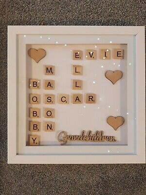 Personalised Family Scrabble Letter Box Frame Picture 12x12 Inch  • 20£